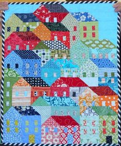 Check out this trendy shabby chic quilts - what an inventive concept House Quilt Patterns, House Quilt Block, Quilt Block Patterns, Small Quilts, Mini Quilts, Quilting Projects, Quilting Designs, Quilting Ideas, Embroidery Designs