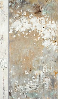 """Karen Laborde -  """"Fortuitous"""", acrylic, gesso, moulding paste, conti crayon, ink and graphite on canvas, 28 x 48 inches (diptych)"""