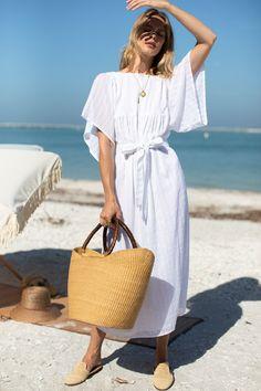 Basalie Midi Dress - Dot Stripe White - Emerson Fry The White Album, White Midi Dress, Kimono Fashion, Organic Cotton, Dots, Shirt Dress, Emerson Fry, Model, How To Wear