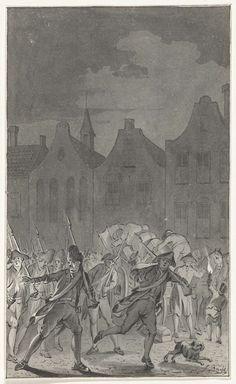 Pruisische troepen op de Neude te Utrecht bij het verlaten van de stad, 16 september 1787, Jacobus Buys, 1787 - 1801