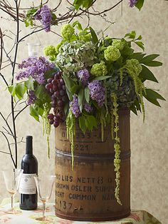 wine-barrel.Many of the materials, like the soda crate and barrel, came from flea markets that I love to frequent throughout New England!