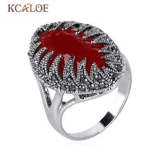 Red Agate Stone Rings For Women Vintage Black Rhinestone  White Gold Plated Marcasite Statement Ring Bijoux Bagues Femme