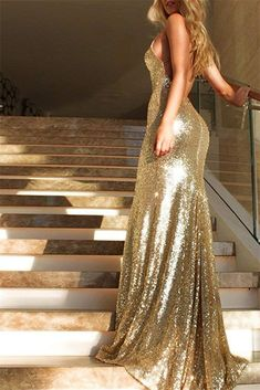 36a5ea1f909 Gold Sequin Mermaid Prom Dresses V Neck Evening Gown Long Backless Gold Prom  Dresses