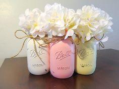 Mason Jars, Chabby Chic, Distressed Mason Jars, Centerpieces, Mason Jar Decor, Country Decor, Nursery Mason Jars, Wedding