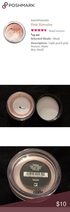 Blush Loose Eyeshadow by bareMinerals Swatched with a separate item (with and without flash). Opened but never used after I realized I already owned the color.   Turn up the romance with delicate petals of pink. From pale to powerful, these classic rosy hues give your lids a flirty floral flush — perfect for making eyes across the room. Bare Escentuals Makeup Eyeshadow