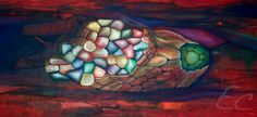 'Shaped by water and land' Abstract painting Acrylics on canvas 155x52cm. www.echt.nz