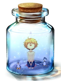 Interesting...a boy in a jar :)