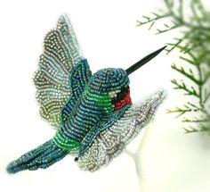 Hummingbird Ornament Beaded Bird ClipOn Decoration by MeredithDada