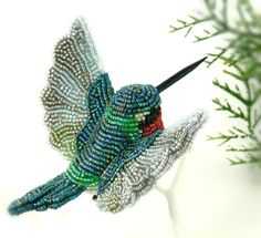 Hummingbird Ornament Beaded Bird Clip- on Ornament *MADE TO ORDER by MeredithDada on Etsy