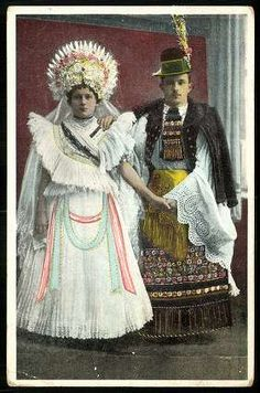 Illustration of woman and man in folk costume, Hungary, circa :: Blanche Payne Regional Costume Photograph and Drawing Collection Folk Costume, Costumes, Man Skirt, Hungarian Embroidery, Folk Clothing, Iconic Dresses, Historical Images, Bridal Crown, Cute Tshirts