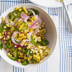 Charred #Corn #Salad with Mint, Parsley and Cilantro