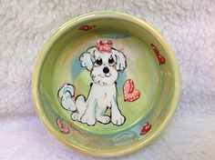 Dog Bowl 8 Dog Bowl for Food or Water Personalized at no Charge Signed by Artist Debby Carman *** Click image for more details.
