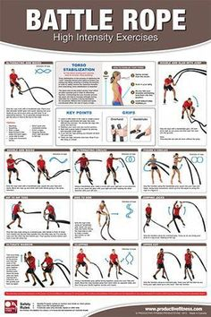x Laminated Fitness Poster / Wall Chart - Battle Rope Exercises – Productive Fitness (CBRL) Cellulite Wrap, Reduce Cellulite, Anti Cellulite, Rope Exercises, Abdominal Exercises, Fitness Exercises, Cellulite Exercises, Training Exercises, Stomach Exercises