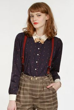 Plaid pants with suspenders