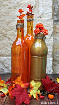 How to tint glass with Mod Podge Sheer colors - make a pretty autumn display!