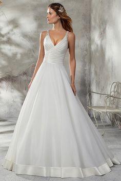 0d8e192e1c [210.99] Amazing Satin & Organza Satin V-neck Neckline A-line Wedding Dress  With Beadings. Organza Menyasszonyi ...