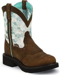Justin Gypsy Teal & Lace Saddle Vamp Cowgirl Boots - Round Toe