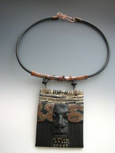 j-wow what a vision, I love the face inclusion   polymer clay and copper : Pam Sanders