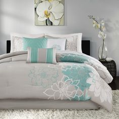 Madison Park Lola King/california King Duvet Cover Set In Aqua King Comforter Sets, Duvet Sets, Queen Duvet, Grey Comforter, King Duvet Cover Sets, Aqua Quilt, Bedding Sets Online, Bed In A Bag, Cotton Duvet