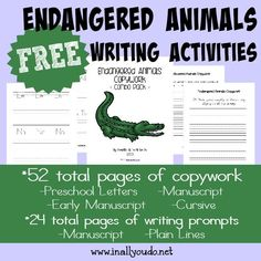 These fun and FREE Endangered Animals writing activities are perfect for learning about these animals while using their creative juices. 76 total pages :: www.inallyoudo.net