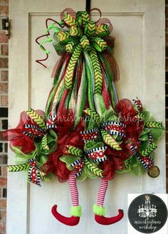 Christmas wreath elf wreath with legs deco by MrsChristmasWorkshop by kelley Christmas Mesh Wreaths, Noel Christmas, Christmas Projects, Christmas Ornaments, Winter Wreaths, Christmas Reef, Christmas Ideas, Halloween Mesh Wreaths, Christmas Island