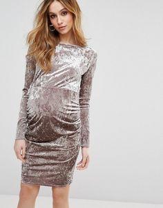 d61736296ccf63 ASOS Maternity Cowl Back Velvet Dress at asos.com