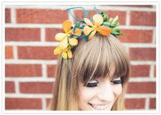 flowered head crown - 60s mod wedding