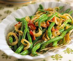 Garlic-Mustard Green Beans Dress up fresh or frozen green beans with bacon and onion and serve as a beautiful holiday side dish.