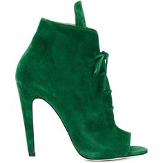 Off-White peep toe lace-up booties ($1,150) ❤ liked on Polyvore featuring shoes, boots, ankle booties, heels, zapatos, green, lace up heel booties, lace up booties, green boots ve suede peep toe booties