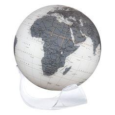 The White Grey Earthsphere Vintage Globe, World Globes, Grey, Earth, Globe Decor, Gray, Globe, Mother Goddess, World