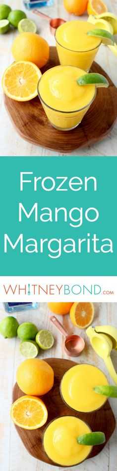 Mango, fresh squeezed orange and lime juice, tequila and triple sec are combined in this deliciously light & refreshing Frozen Mango Margarita Recipe!