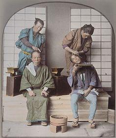 働く人々:髪結い. Haircuts. Old Japan.