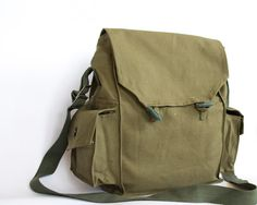 Vintage Military Bag 1970's Army Canvas Bag by ARoadThroughTime, $12.00