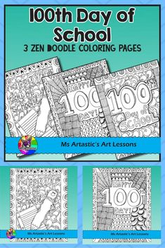 Celebrate the 100th Day of School with 3 zentangle coloring pages to allow for educational, mindful coloring in your classroom. All coloring pages are hand drawn by Ms Artastic with love and care.