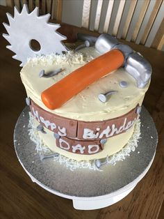 Builders tools Cake for Dads Birthday, Victoria sponge with coconut buttercream