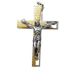 Hanessa Edle Edelstahl Herren Hals-Kette Gold Silber Kreuz Jesus Christus Geschenk für den Freund / Ehe-Mann / Männer