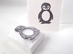 baby penguin  hand carved stamp by paperfruithair on Etsy, $8.89