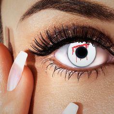 Blut Kontaktlinsen weiß & rot, Halloween & Horrorlinsen