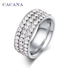 Titanium Stainless Steel Ring With CZ  Price: 2.34 & FREE Shipping  #hashtag1