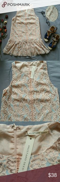 """MUSTARD SEED SLEEVELESS LACE SHIFT DRESS *SALE IS FOR DRESS ONLY!  *BRAND NEW WITH TAGS  *SHELL 49% 55% COTTON  *LINING 100% POLYESTER  *BACK ZIP AND CLASP CLOSURE  *COLPR ARE SOFT PINK & BABY BLUE  *BUST APPROX 35"""" *SHOULDER TO HEM APPROX 31.5"""" *STORED IN NON-SMOKING PET FREE HOME Mustard Seed Dresses"""