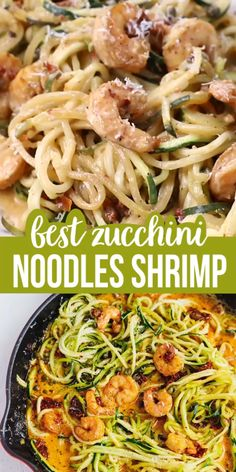 Zucchini Noodles Shrimp Recipe And With Creamy Sun-Dried Tomato Sauce – the perfect delicious zoodles for a light and effortless low-carb dinner. Zucchini Pasta Recipes, Baked Shrimp Recipes, Zoodle Recipes, Chicken Pasta Recipes, Seafood Recipes, Heart Healthy Recipes, Healthy Dinner Recipes, Vegetarian Recipes, Lunch Recipes
