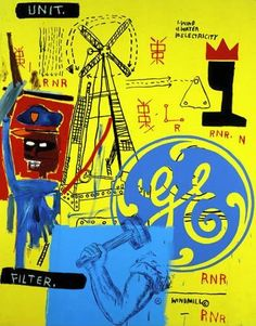 Andy Warhol and Jean-Michel Basquiat, Unit Filter GE, 1984, Acrylic and silkscreen ink on canvas, 86 x 68 inches. Collection of the Andy Warhol Foundation for the Visual Arts, Inc., Pittsburgh PA.