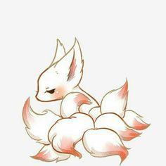 Kitsune Kid [Com] by Nievaris Cute Kawaii Animals, Cute Animal Drawings Kawaii, Kawaii Art, Cute Drawings, Cute Fantasy Creatures, Mythical Creatures Art, Cute Creatures, Pet Anime, Anime Animals