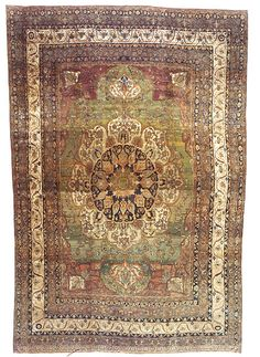 "LAVAR KERMAN (SOUTHEAST PERSIA), CIRCA 1875  Dimensions: 11' 1"" x 16' 2""  Stock Number: 2230 from BEAUVAISCARPETS"