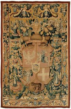 darksilenceinsuburbia: Jagiellonian Tapestry - Sigismund Augustus coat of arms when Grand Duke of Lithuania, 1548 Renaissance, Poland History, High Middle Ages, Arm Armor, Viking Age, Dark Ages, Tapestry Weaving, Crests, Coat Of Arms