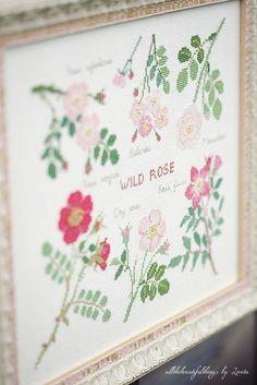 Wild Rose botanical cross stitch embroidery