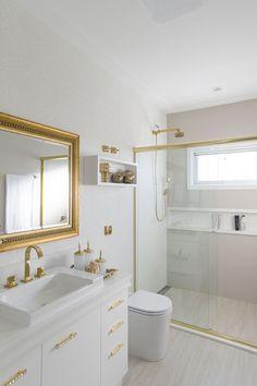 Gabinete para Banheiro: 65 Modelos e Como Escolher Small Bathroom Organization, Double Vanity, Bathtub, Pinterest Bathroom, Home Decor, Small Bathrooms, Templates, Bathrooms, Stuff Stuff