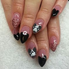 Instagram: @boop711 Acrylic nails with black and grey heart french rose gold glitter and a paw print.