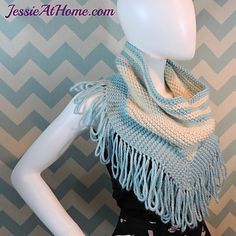 """Missy is a fringed shawl point cowl in two colors. Worked in garter st, with easy to create increases and drop stitch fringe, this cowl is a quick and easy pattern. Knitting Patterns Free, Knit Patterns, Free Knitting, Free Pattern, Knit Cowl, Knitted Poncho, Crochet Scarves, Knit Crochet, Chrochet"