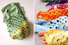 10 Fabulous DIY Ways to Recycle Old Tees - t shirt Produce Bag tutorial